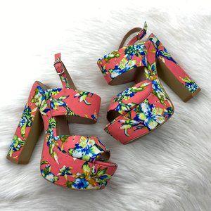 Steve Madden Pink Platform Floral Heels Strappy *